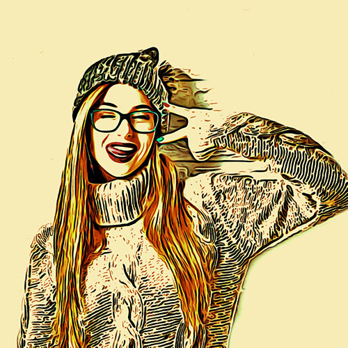 49230449 - funny hipster girl in knitted sweater and beanie hat going crazy at white brick wall background. trendy casual fashion outfit in winter. toned photo with copy space.