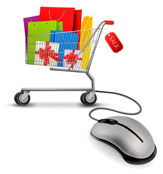 12151069 - shopping bags in shopping cart and computer mouse. concept of e-shopping. vector illustration.