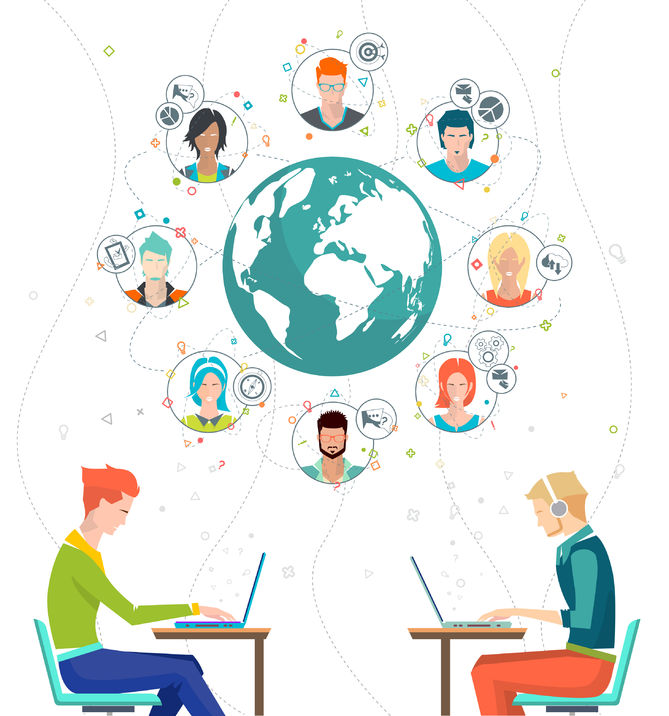 44184332 - global business concept. communication in the global networks. multitasking in business. long-distance administration and management. concept of social media network.  vector illustration.