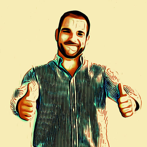 49027054 - happy man with thumbs up on a turquoise background